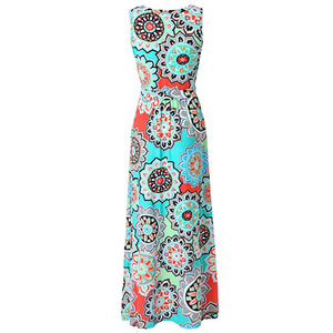 Element print sleeveless ladies dress 2018