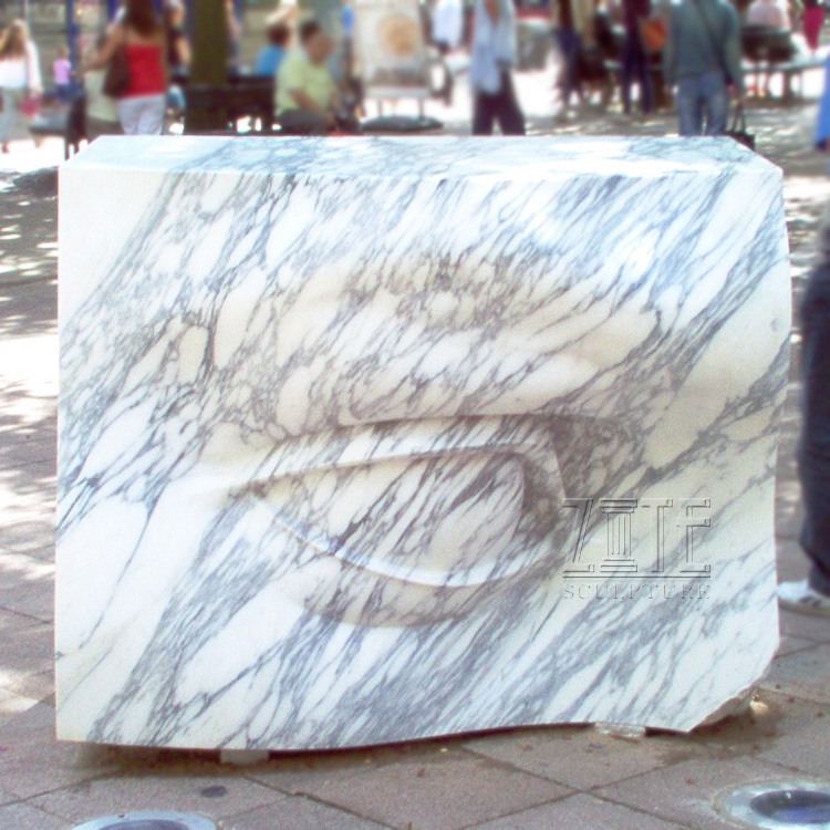 Custom outdoor garden decoration stone marble eyes sculpture