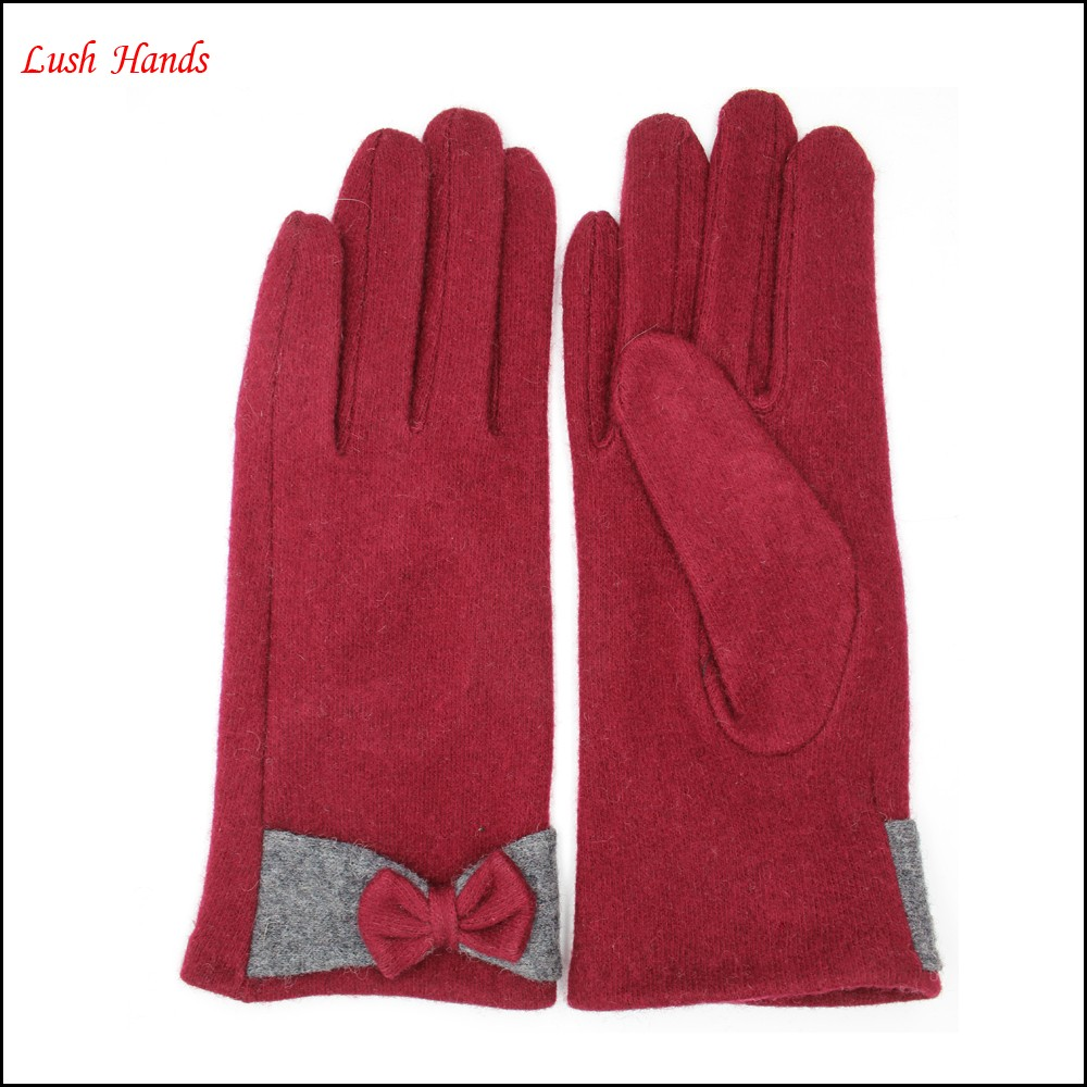 Lady's high quality winter warm red woolen gloves with bow