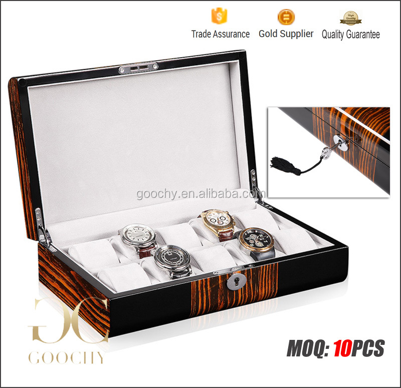 Lacquered Watch Box, Deluxe Watch storage Case 10 slot with artistic grains for Luxury watchesGC02-LG2-10BH