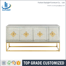 Luxury customized gold stainless steel mirror console table buffet cabinet
