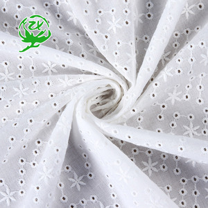Low price custom made elegant white cotton mesh embroidered lace fabric