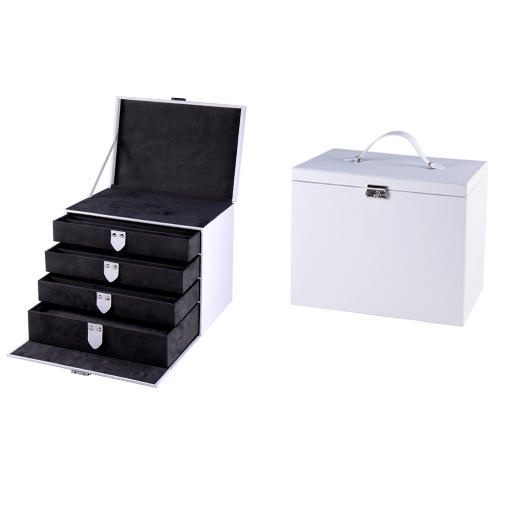 Black and white vintage 4 layers jewelry box with matel lock