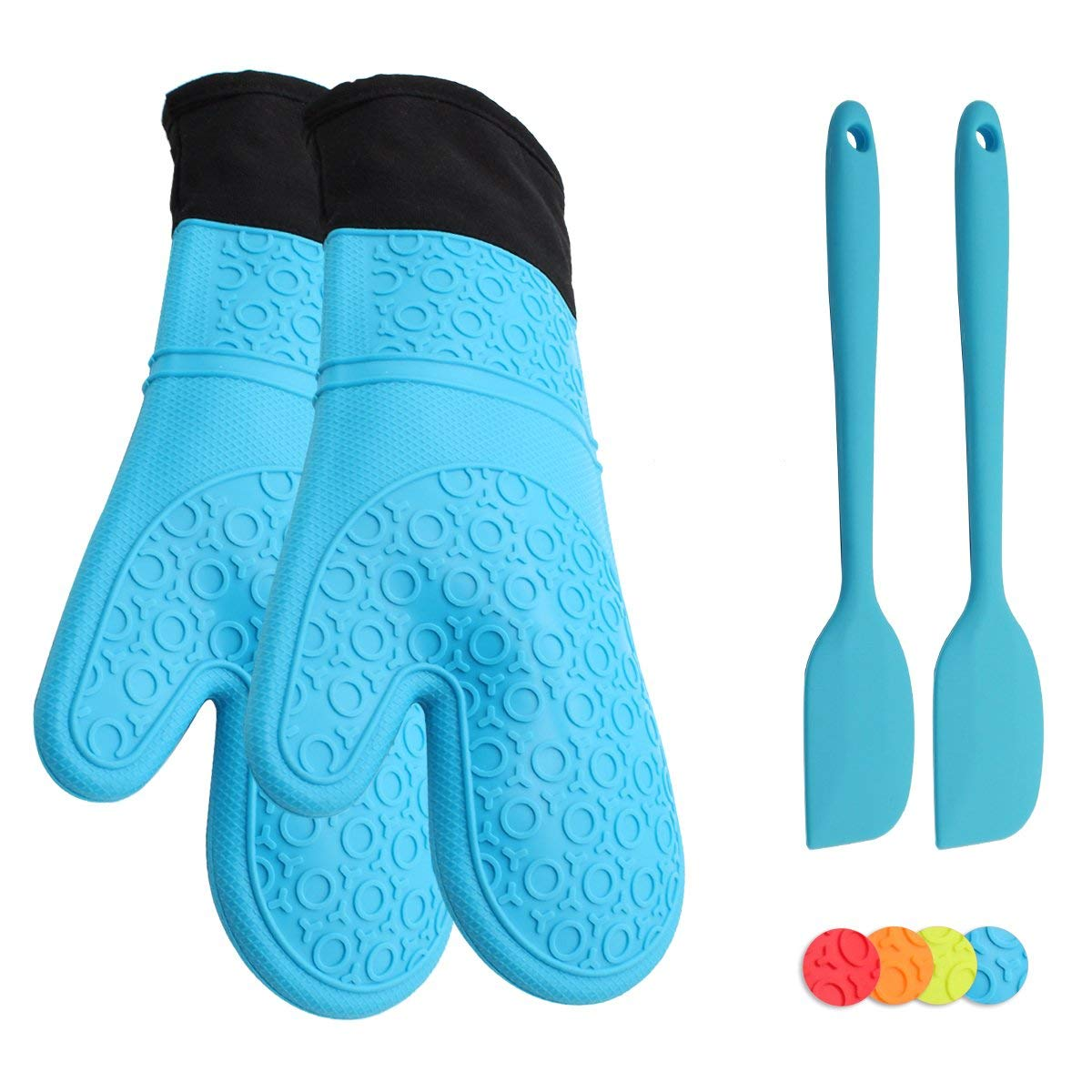 ATOZEDO Durable Silicone Oven Mitts, Extra Long Heat Resistant Oven Glove with Quilted Cotton Liner - Plus Silicone Baking Spatula(2pcs) in Food Grade Silicone Material Blue Set