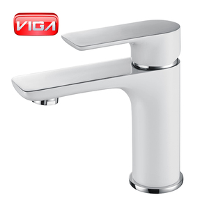 China Brass tap basin mixer white and chrome colour aqua faucet