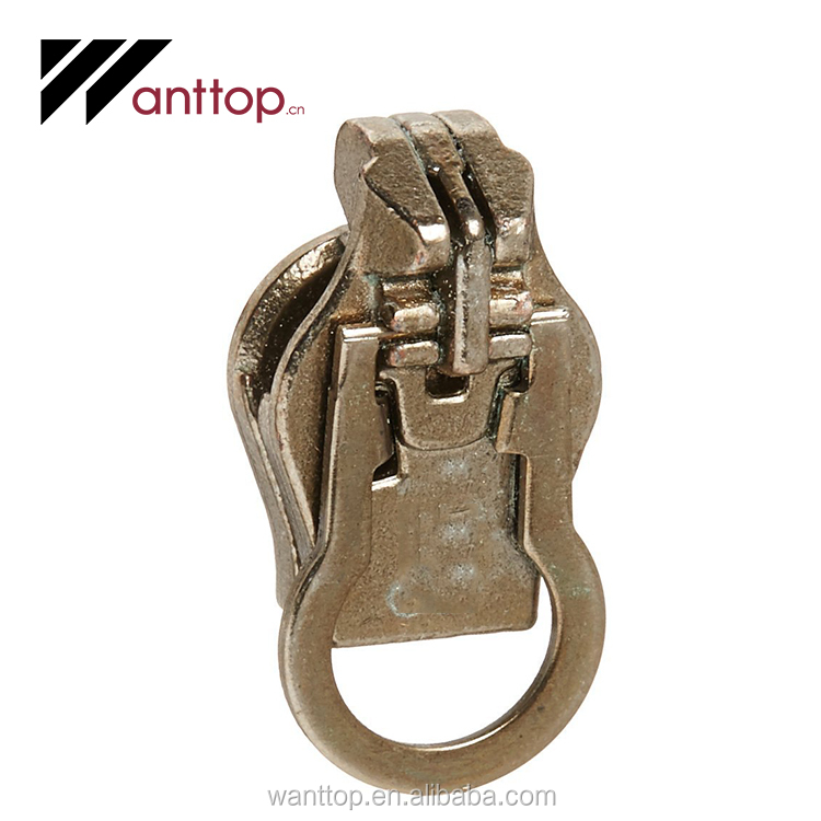 Cheap Zipper Size Old Brass Metal Zipper Pull For Replacements