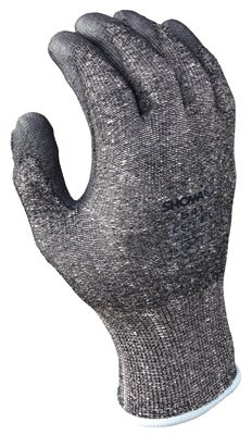 SHOWA Best Glove 541-M Size 7 SHOWA 541 13 Gauge Cut Resistant Gray Polyurethane Dipped Palm Coated Work Gloves With Light Gray Seamless Dyneema And High Performance Polyethylene Knit Liner And Elastic Wrist (1/PR)