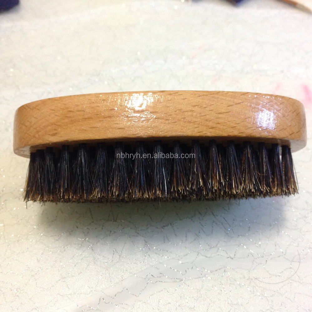 Palm Reinforced Natural Hard Boar Bristle Hair Beard Brush Military Round