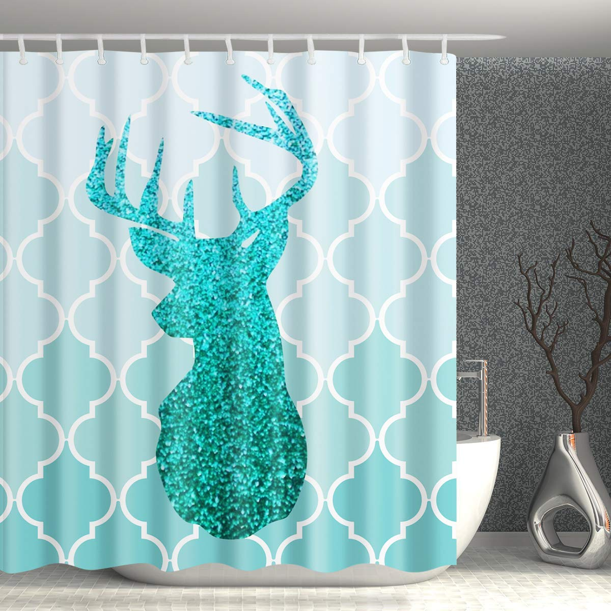 Get Quotations Homify Turquoise Shower CurtainGreen Ombre European Medieval Gradient Patterns Bathroom Curtain With Dear