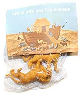 ARCO Noah's Ark Lions Plastic Toys on Card NOS