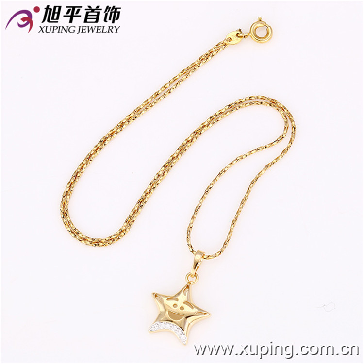 31800 Xuping high quality charm star shape gold polated custom charm star brass necklace pendant