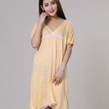 8161dd67b النساء قمصان النوم 100% القطن 2019 جديد الصيف والخريف الإناث Sleepshirt باس  النوم رقيقة رخيصة صالة الأزرق الأصفر الوردي