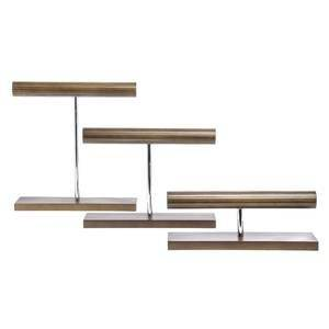 Wood and Chrome Jewelry Display Stands, Set 3