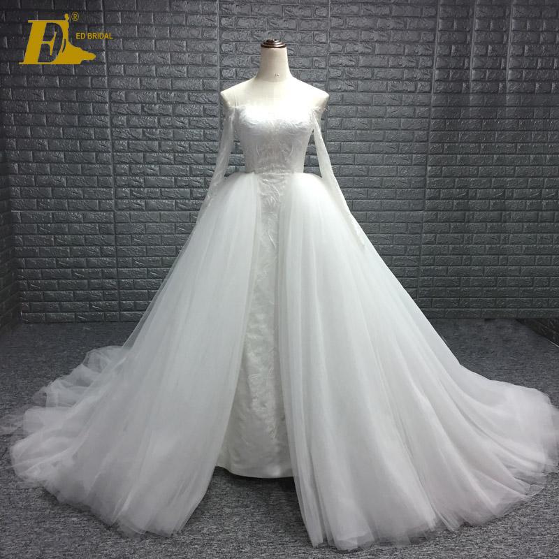 Ed Bridal Sheer Neckline Lace Long Sleeve Wedding Dresses With Detachable Train