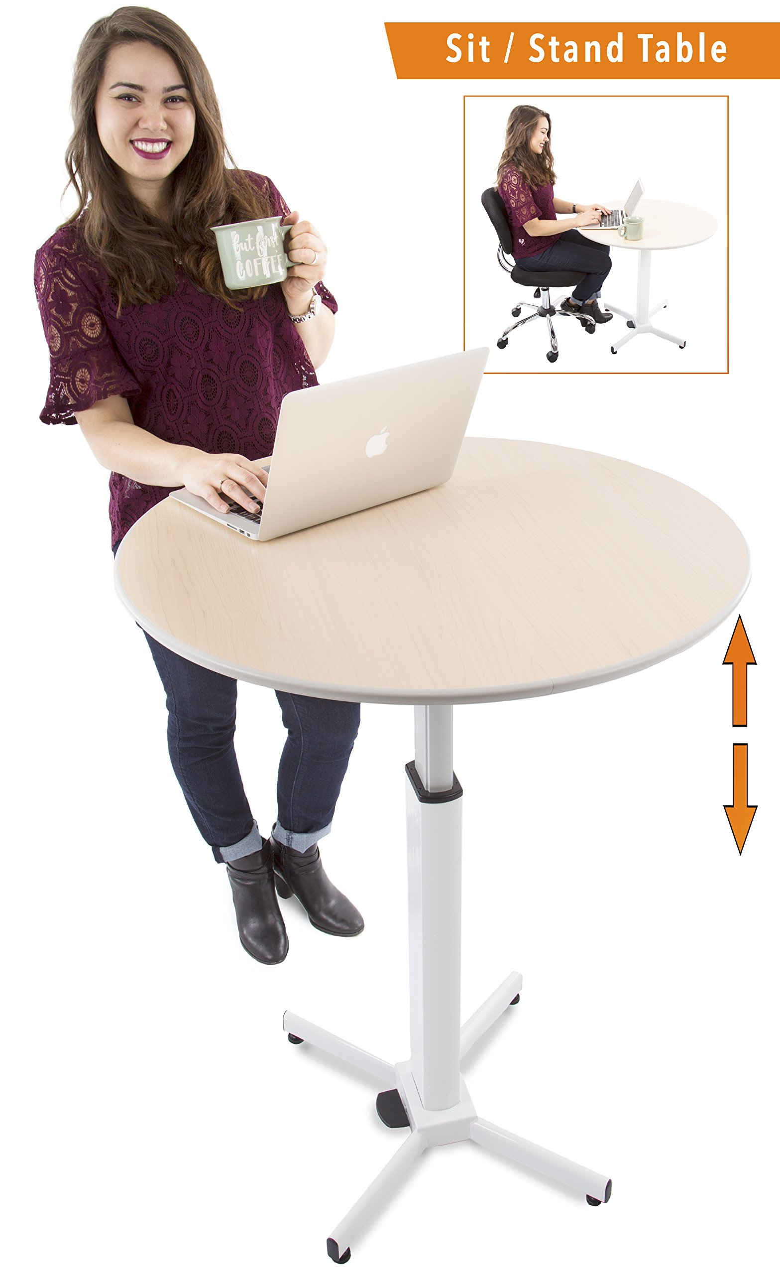 Adjustable Height Multifunctional Round Table - Perfect use for Cocktail Table, Sit to Stand Desk, Side Table - and More! Large Surface
