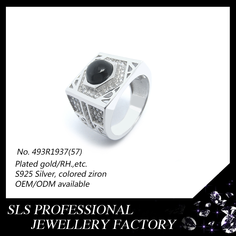 New product 2016 turkish style 925 silver rhodium plated big black cz rings for men