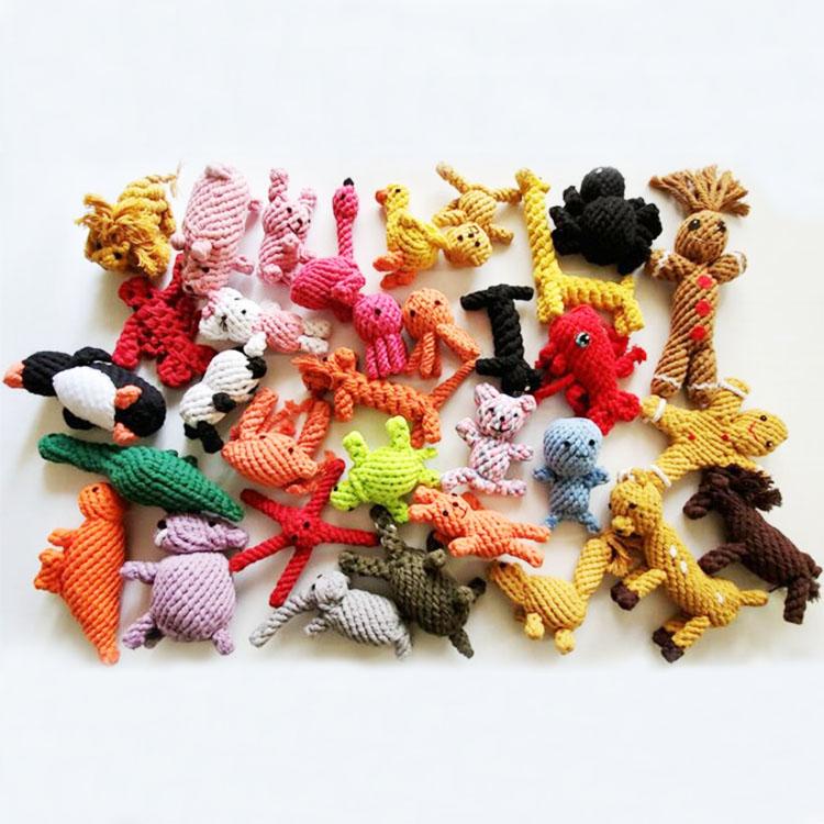 Produsen Hewan Kecil Katun Rami Tali Bola Mainan Hewan Peliharaan Set Anjing Mengunyah Tali Mainan