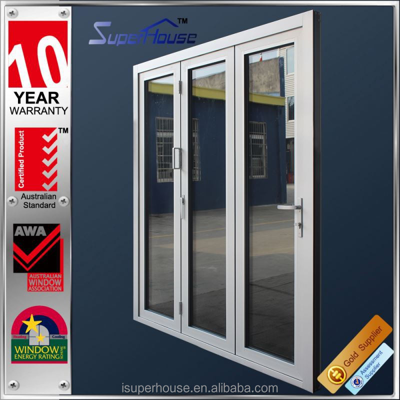 Heat insulation exterior or interior accordion folding door with fly screen