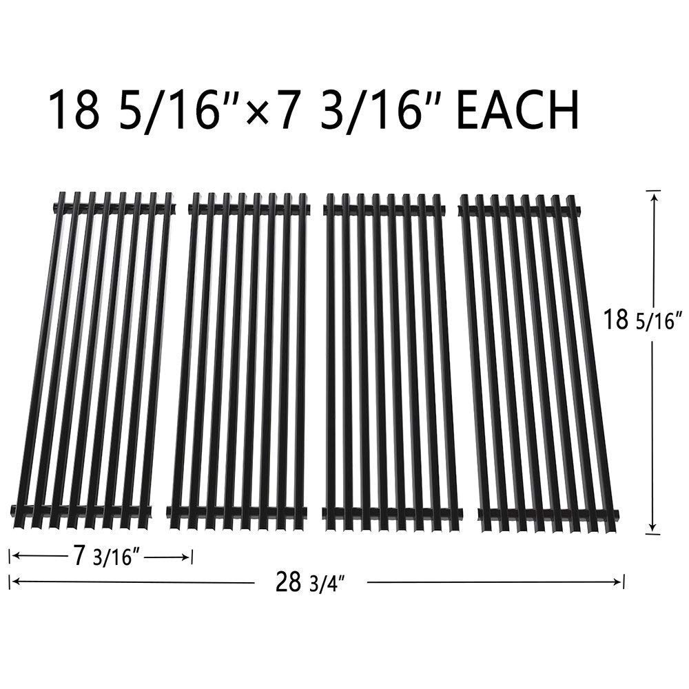 """SHINESTAR Grill Grate Replacement for Char-Broil 4-Burner Tru-Infrared Grills Prior to 2105, Porcelain Enameled Steel Cooking Grid (18 5/16"""" x 7 3/16"""", Set of 4)"""