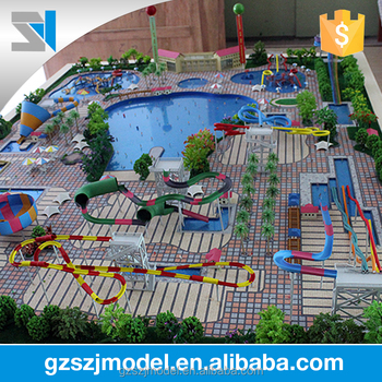 3D Rendering Design Water Park Architectural Scale Models Figures