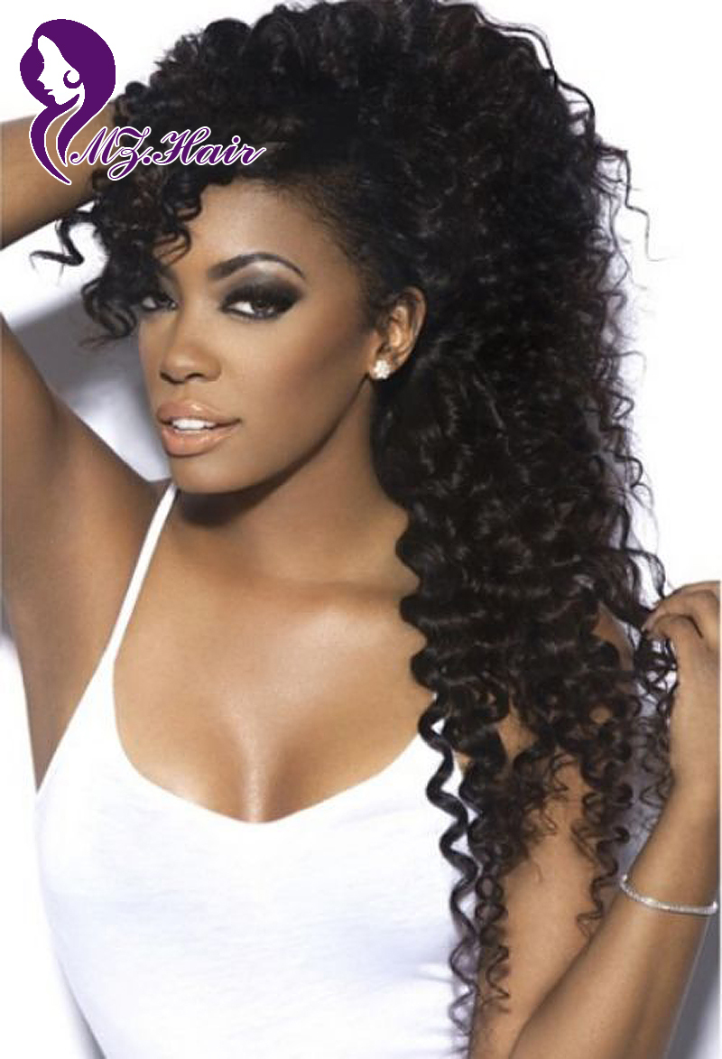 Kinky Curly Full Lace Wigs Glueless Front Lace Wigs Human ...