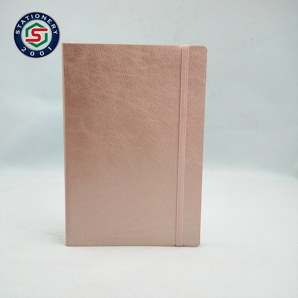 custom special fancy rose gold pu leather diary notebook