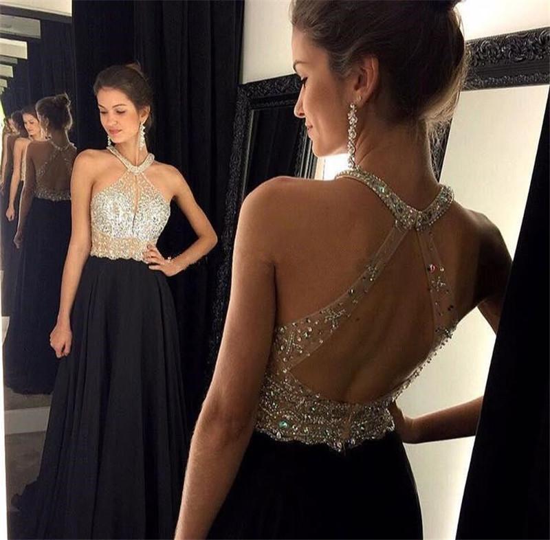Sexy Long Elegant Black Prom Dress vestidos de fiesta largos 2015 Crystal Beading Backless A Line