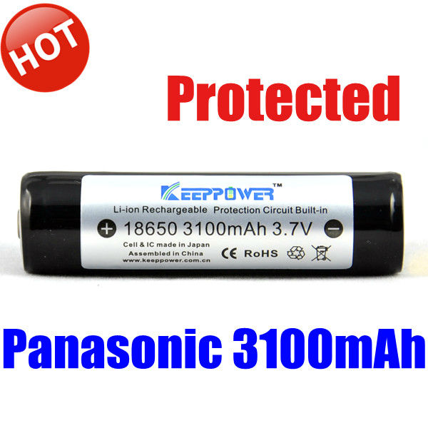 Keeppower protected ncr 18650 battery 3100mah for panasonic 18650 batteries