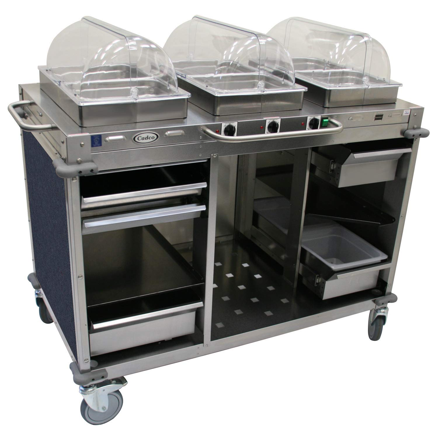 "Mobile Hot Buffet Cart Size: 49"" H x 55.5"" W x 28.75"" D, Color: Girona Falls Blue Marbled"