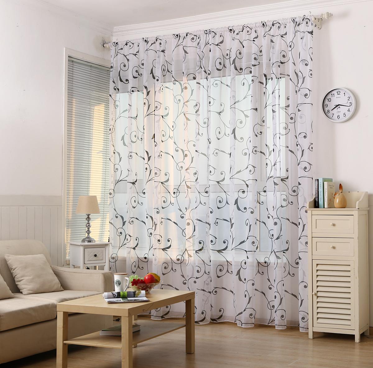 European style window voile curtain living room sheer - European style curtains for living room ...