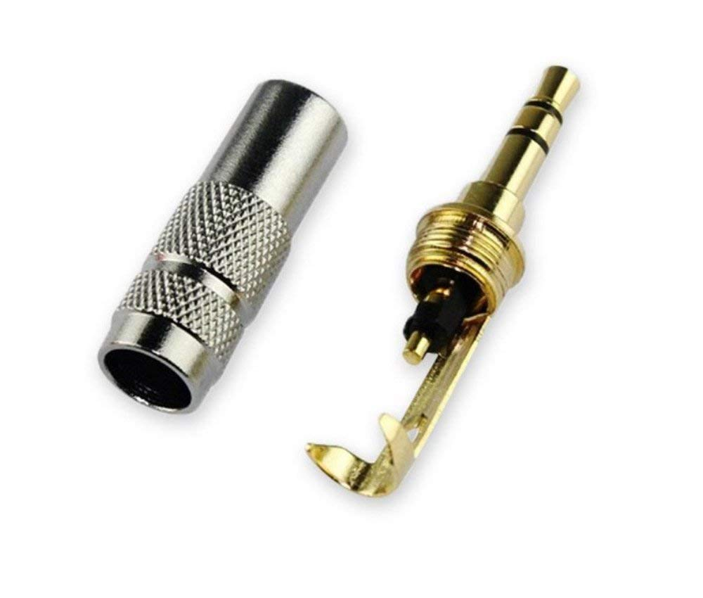 DCFun 3.5mm 3-pole Headphone Jack Male Plug Repair Replacement Solder Adapter, Copper Plated Metal Housing Plug -Silver