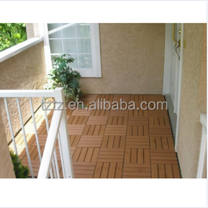 300x300mm teak wood WPC interlocking garden deck tiels