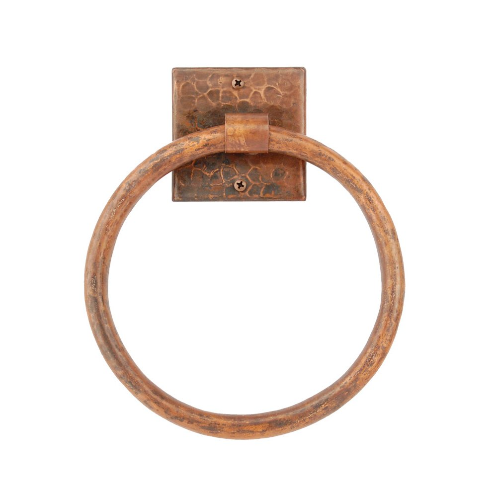 Premier Copper Products TR7DB 7-Inch Hand Hammered Copper Towel Ring, Oil Rubbed Bronze