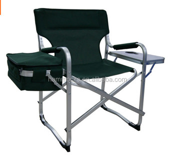 tall director chair folding metal with tablewith cup holder
