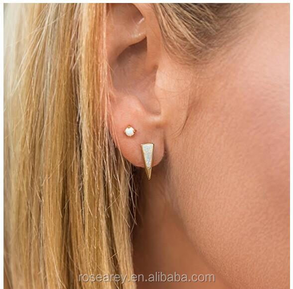 Women Fashion Surgery Steel Dagger Upside Down Triangle Women Opal Stone Stud Earrings