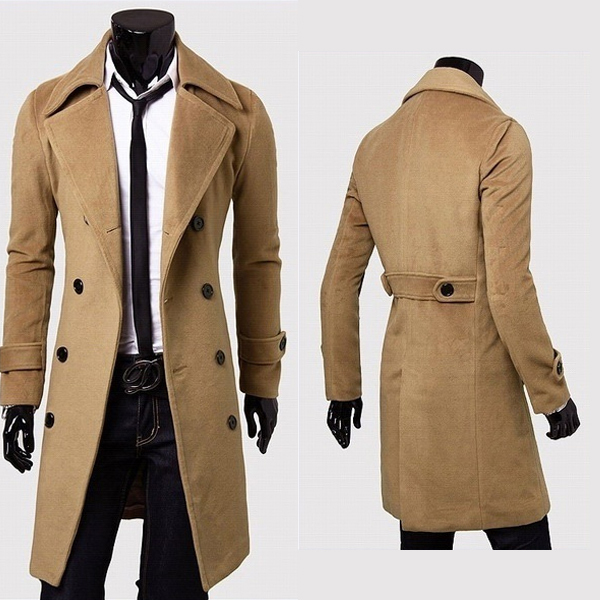 2018 Classic Polyester Knee Length Warm Winter Long Mens Trench Coat