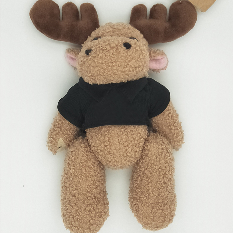 Wearing T-shirts deer plush toy hands and feet can be rotated