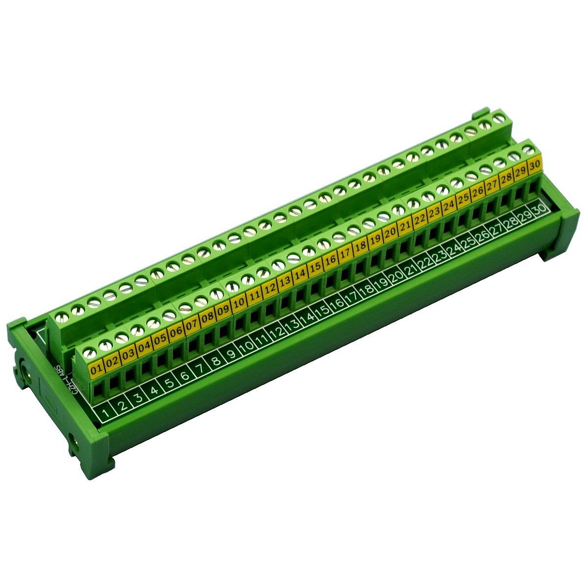 Electronics-Salon DIN Rail Mount 30 Position 24A / 400V Screw Terminal Block Distribution Module.
