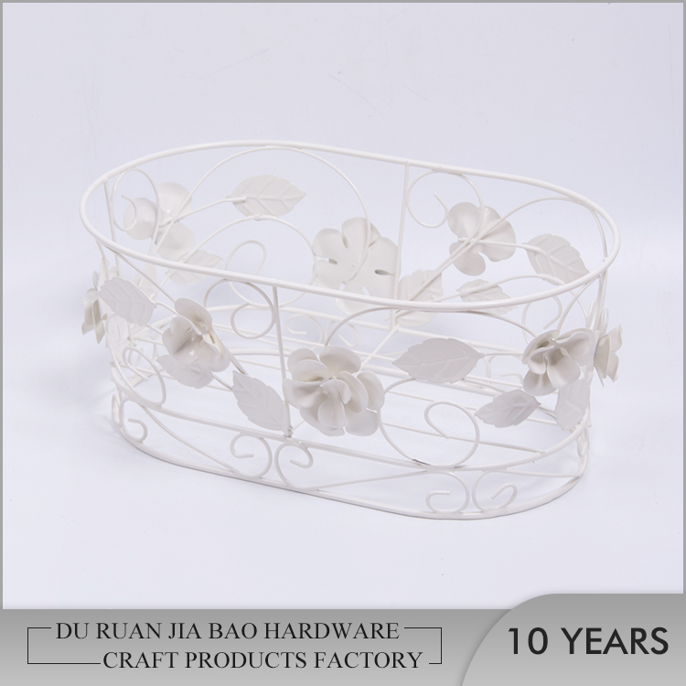 OEM customize table top iron metal wire oval storage fruit basket