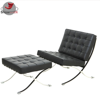 Simple Stainless Steel Living Room Furniture Leather Sofa Set Barcelona Chair
