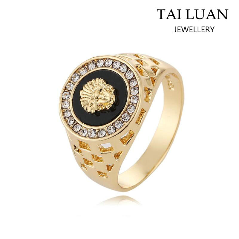 Wholesale crystal lion head fashion men's gold ring