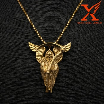 Stainless steel jewelry holy saint death santa muerte skull biker stainless steel jewelry holy saint death santa muerte skull biker gold pendant mozeypictures Images