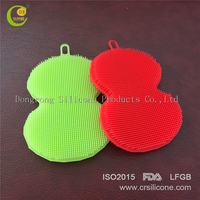 Dongguan Factory Mini antibacterial silicone kitchen dish washing cleaning sponge scrubber brush