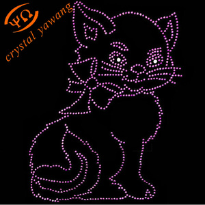 wholeslae hotfix cat rhinestone transfer designs for bags decoration