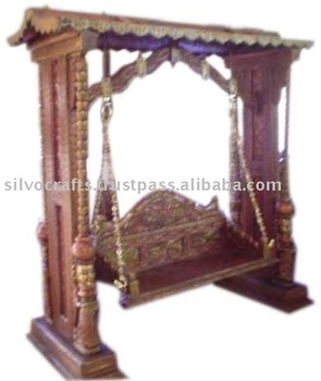 Charmant Royal Indian Rajasthani Jodhpur Hand Carved Wooden Swing Jhula (Indian  Antique Reproduction Furniture)