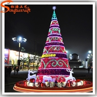 Guangzhou supplier high quality various size artificial giant LED lighted christmas tree ornament pine needle trees outdoor