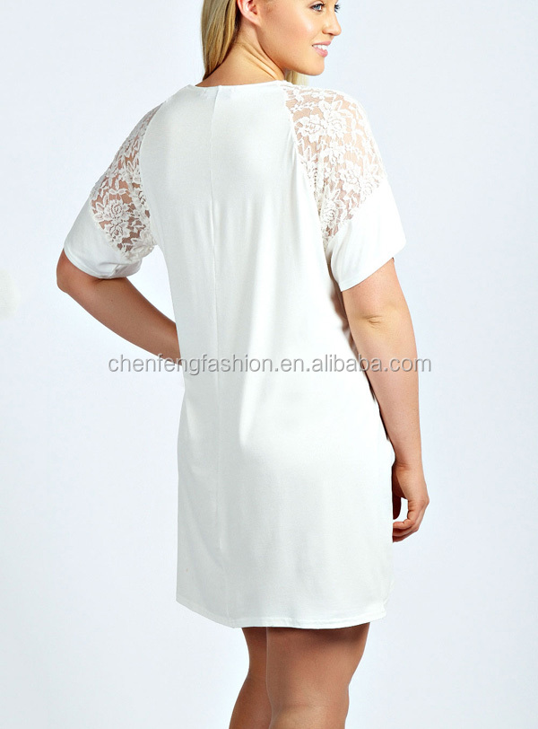 Chefon sheer lace detail short sleeve plus size white t for Buy white dress shirt