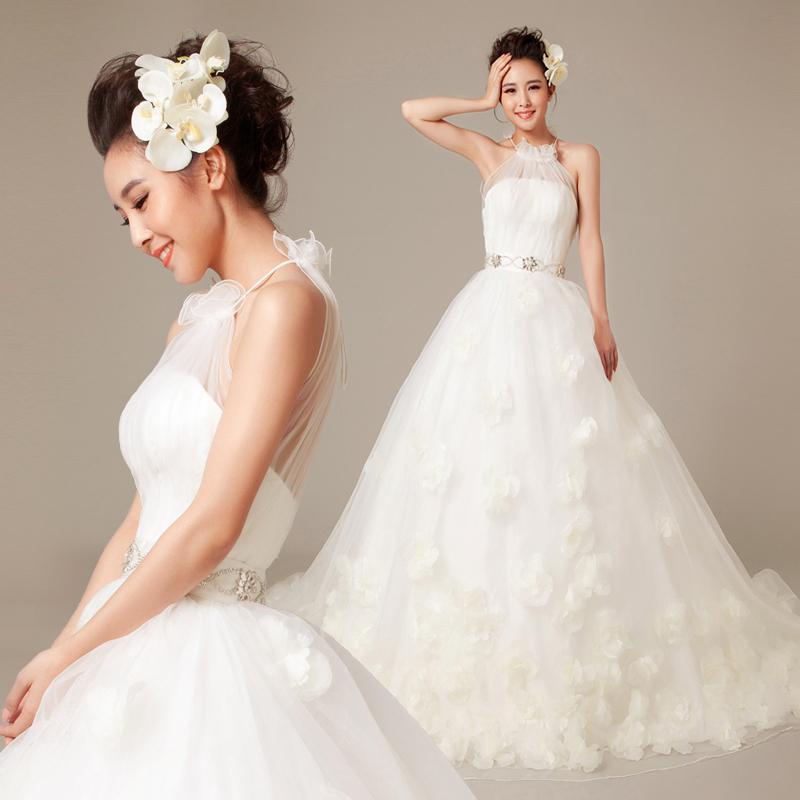 Wedding Gown For Sale: MZYW0155 High Neckline Hand Made Flower Vestido Novia