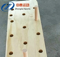 gym equipment wooden wall mounted peg board