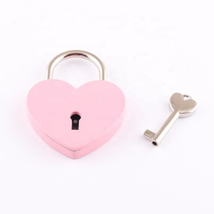 Fashion metal wooden jewelry box heart shape colored mini diary book lock